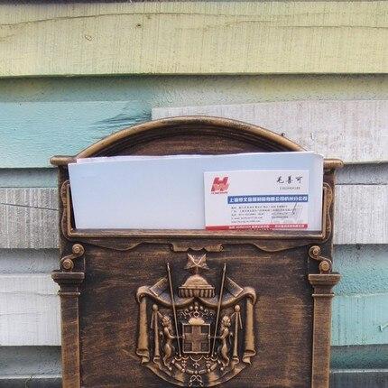 Винтажная коробка с буквами, Открытый запираемый безопасный почтовый ящик для газет, креативный сад, ретро почтовый ящик с литой алюминиево... - 2