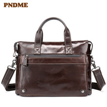 купить High quality vintage large-capacity handbag with one shoulder slant for men and leather office briefcase for men дешево