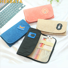 Multifunction Canvas Fabric Pencil Bag Simple Pencil Case Big Capacity Pencil Pouch With Card & Passport Pocket for Men Women