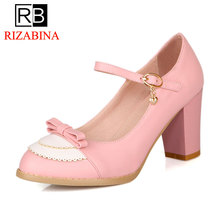 Купить с кэшбэком RizaBina Women High Heel Shoes Women Patchwork Bowknot buckle Thick Heels Pumps Ladies Daily party Footwear Size 32-45