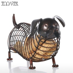 Tooarts المعادن تماثيل صغيرة على شكل حيوانات Dachshund النبيذ الفلين الحاويات الحديثة الاصطناعي الحديد الحرفية إكسسوارات ديكور منزلي هدية