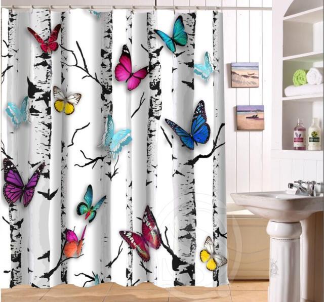 Beautiful butterflies and flowers Retro Cartoon Custom Shower ...