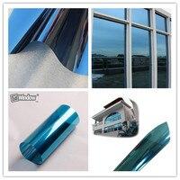 50cm X 152cm 1pcs Glossy Reflective Blue Silver Decoration Films Window Foils
