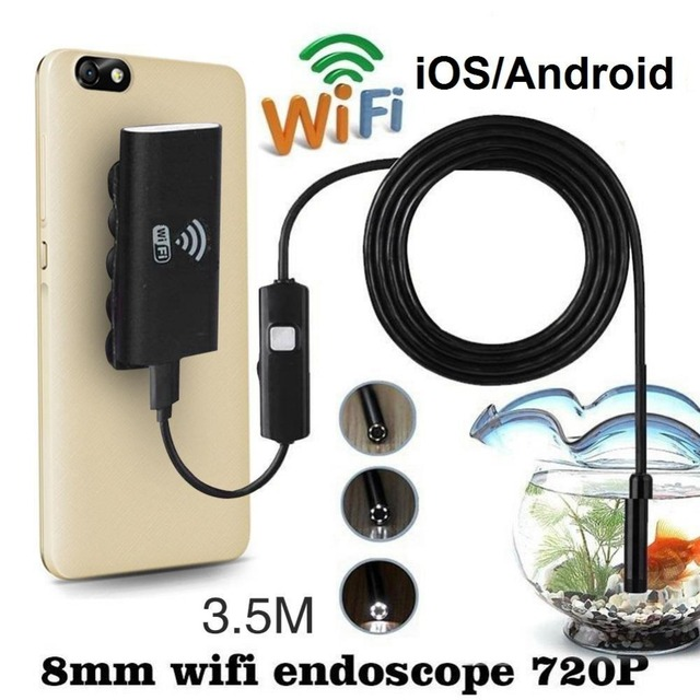 WiFi For iOS Android Endoscopes 720P 2.0MP 8mm 3.5M LED Tube Inspection Camera