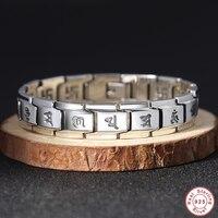Мужской браслет из стерлингового серебра 925 пробы, винтажный Настоящее серебро 925 пробы, браслет цепочка для рук, мужские ювелирные изделия,