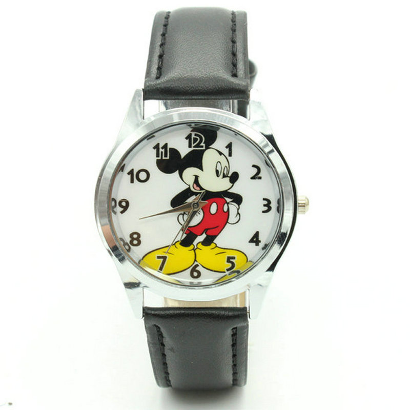 Watches Free Shipping New 2017 Fashion Cool Mickey Cartoon Watch For Children Girls Leather Digital Watches For Kids Boys Christmas Gift