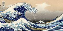 Банное полотенце ukiyo e волнистое с принтом мягкое пляжное