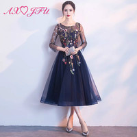 98067f048 AXJFU Princess Navy Blue Lace Flower Evening Dress Party Fashion O Neck  Beading Embroidery Flower Lace