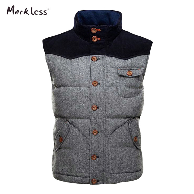 Markeless 2016 Fashion Men Thick Patchwork Down Wool Vest Autumn And Winter Outerwear Coats Vest Down Brand Clothing