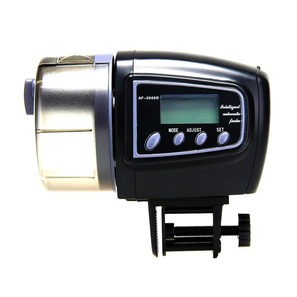 Aquarium fish tank automatic fish feeder - Auto Feeding Manual Automatic Aquarium Fish Tank Food Feeder Timer Lcd Display Black Alimentador Automatico De