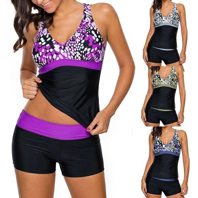 2018 Summer Womens Two Pieces Tankini Top With Boyshort Swimsuit Swimwear Print X Back Tankini XXL Plus Size