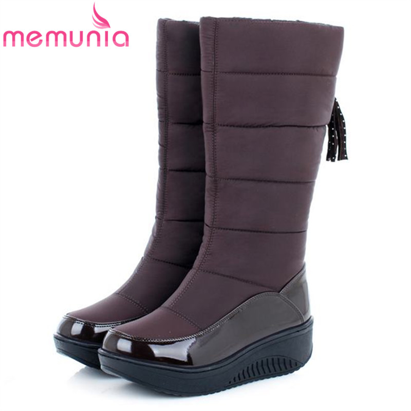 ФОТО MEMUNIA Low price ! Plus size 35-44 new snow boots for women platform tassel slip on keep warm winter women knee high boots