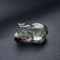 Genuine Natural Green Phantom Quartz Crystal PiXiu Bead Women Man Charm Pendant 27*16*12mm