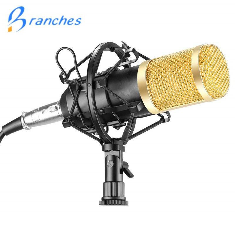 BM800 Mikrofon Microfone Condensador de Gravação de Som Com O Choque de Montagem Para O Rádio Broadcasting Gravação Cantar KTV Karaoke BM 800