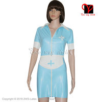 Sexy Latex Nurse Dress with flase apron and Cross Trims doctor Rubber uniform Playsuit Medical Bodycon plus size XXXL