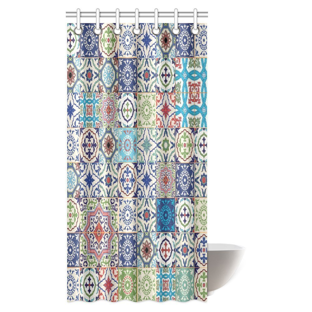 Moroccan Decor Shower Curtain Patchwork Pattern from Colorful ...