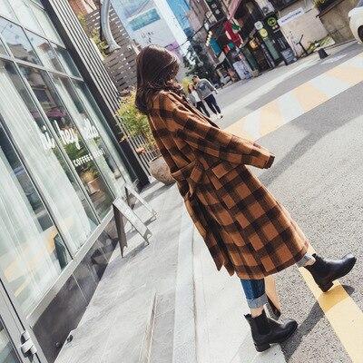 Long Lady Manteau Vêtements Collar Poitrine Femmes Laine 2018 Unique Pour Turn Veste Et Plaid Office Colour Ceintures Caramel Les down qfFwEEd