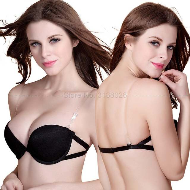 ef29a09995 Sexy Wedding Lingerie Thick Padded Push Up Bras Invisible Transparnt Strapless  Adjustable Clear Back Bras 32