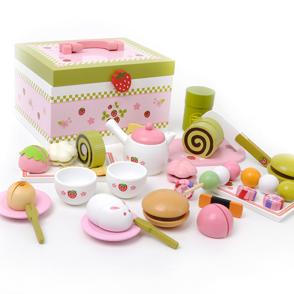 цены Mother garden high quality wood toy Wind story green tea wooden kitchen toys set