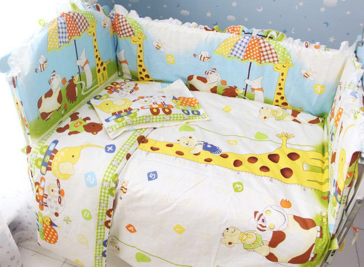 Promotion! 7pcs Baby bedding sets unisex bumper, custom bedding (bumper+duvet+matress+pillow)