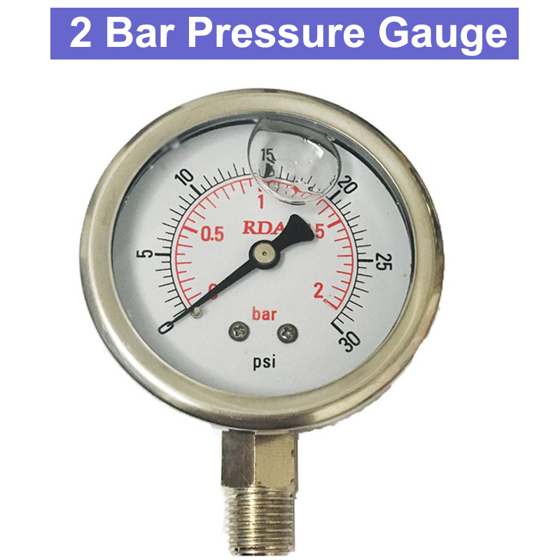 SP 0-30 Psi 2 Bar Stainless Steel Liquid Filled Pressure Gauge 60mm Diameter