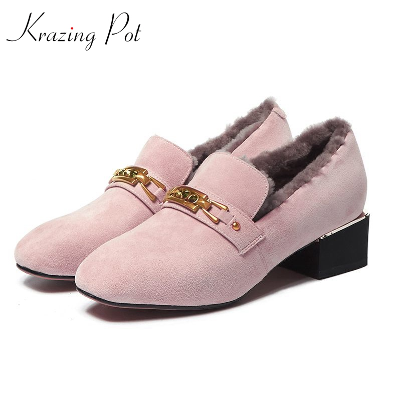 Krazing Pot 2018 brand fur shoes keep warm med heels women pumps square toe party women Spring Winter metal asteners shoes L11 2018 patent leather slip on keep warm pumps for women square toe preppy style pearl wedding med heels brand winter shoes l18