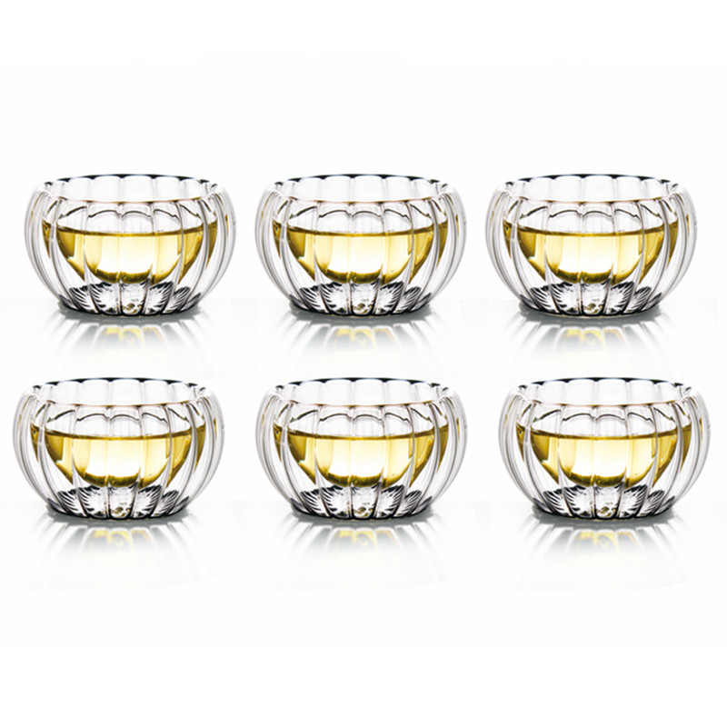 50CC Double Wall Stripe Glass Tea <font><b>Cup</b></font> <font><b>Mug</b></font> <font><b>Chinese</b></font> Kung Fu Drinkware Black Tea Heat Insulation Glass Copa Friend Gift
