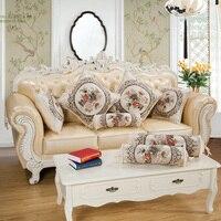 Luxo Europeu Floral Do Vintage Quadrado Capa de Almofada para o Sofá/Bege Rodada Especial Doces Capas de Almofada para a Decoração Home
