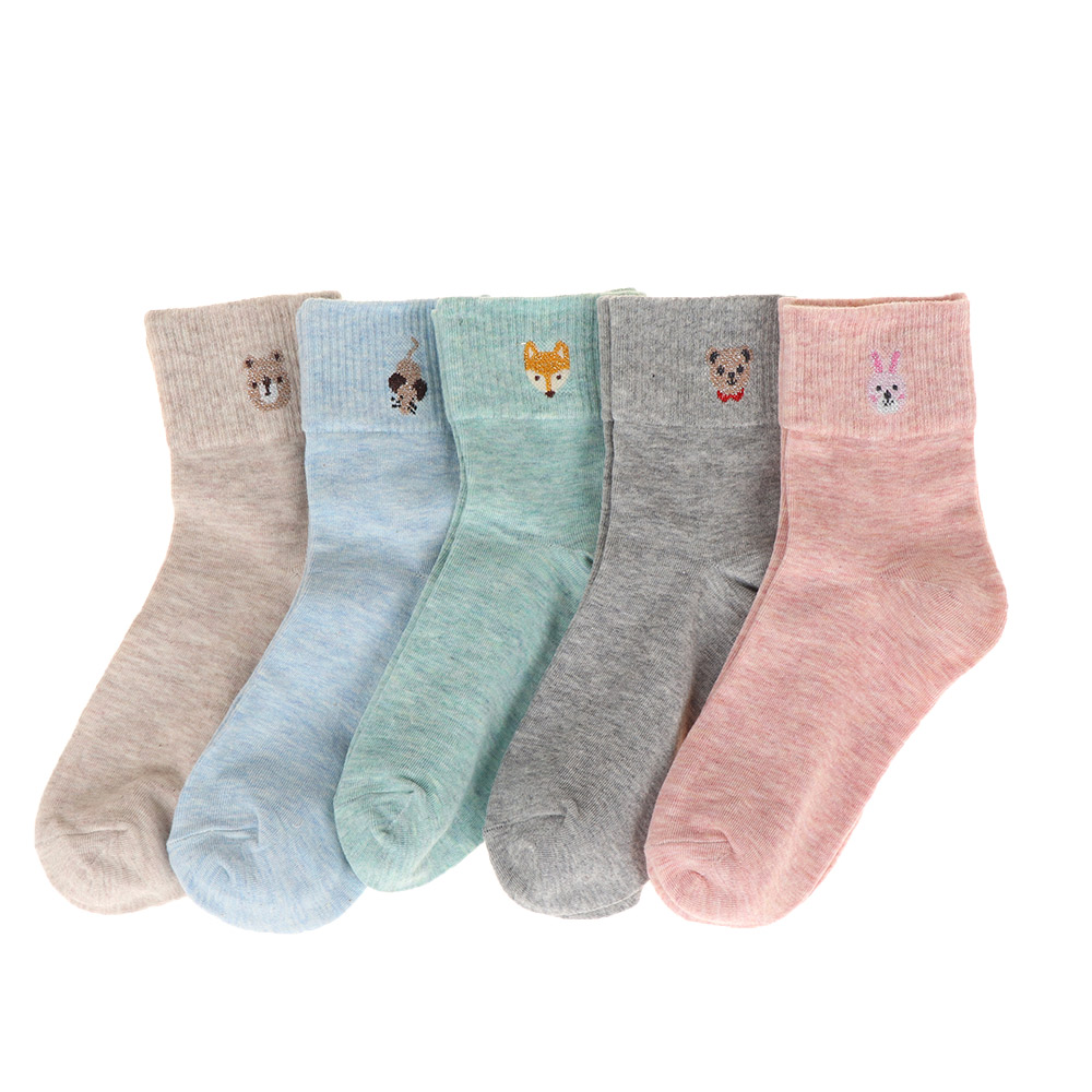 1 Pair Lovely Female Animal Embroidery Dog Patterns Cotton Socks Winter Autumn Comfortable Warm Socks Calcetines Mujer Sokken