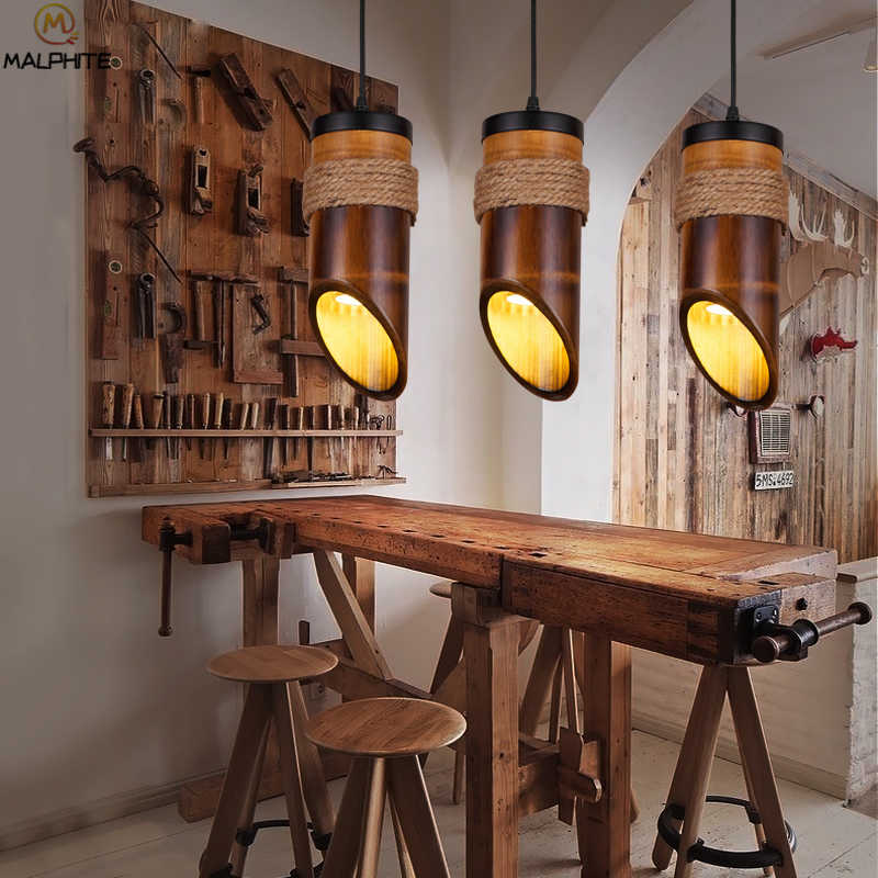 Современная бамбуковая трубка подвесные светильники столовая Ресторан веревка лампа освещение блеск кафе промышленный Декор подвесная осветительная арматура