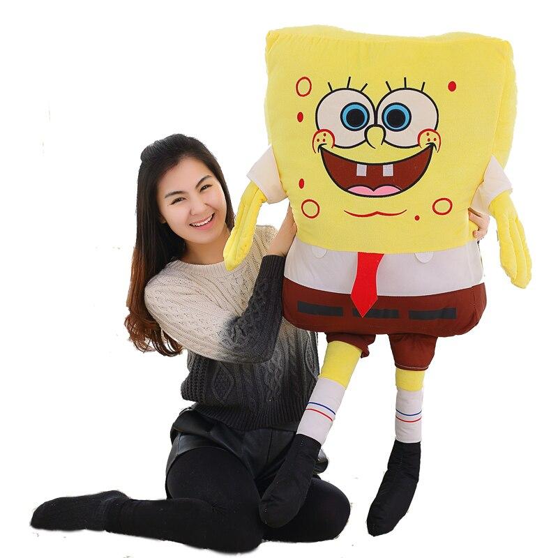 Hohe Qualität 1 stück 80 cm Spongebob Weichem Plüsch Anime Cosplay Puppe Spielzeug Cartoon Abbildung Kissen Weihnachten Geschenk Für Kinder baby