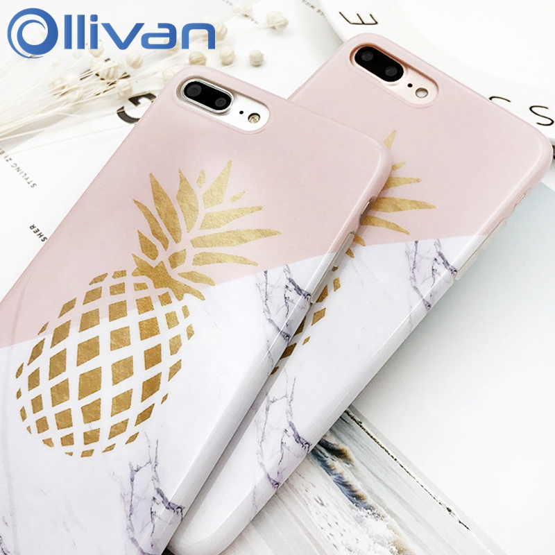 OLLIVAN Pineapple Marble Case For Iphone 7 8 Plus 6S 6Plus Funda Silicon TPU Full Protection Cover For Iphone 7 8 Case Capinha