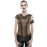 Steampunk Women Cotton T Shirt Armor Shoulder Do Old Casual Tee Tops Khaki Black Bandage Slim