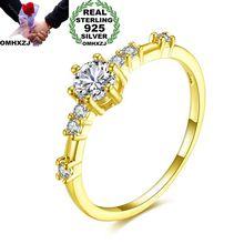 OMHXZJ Wholesale European Fashion Woman Girl Party Wedding Gift AAA Zircon 925 Sterling Silver 18KT Yellow Rose Gold Ring RR352 цена и фото