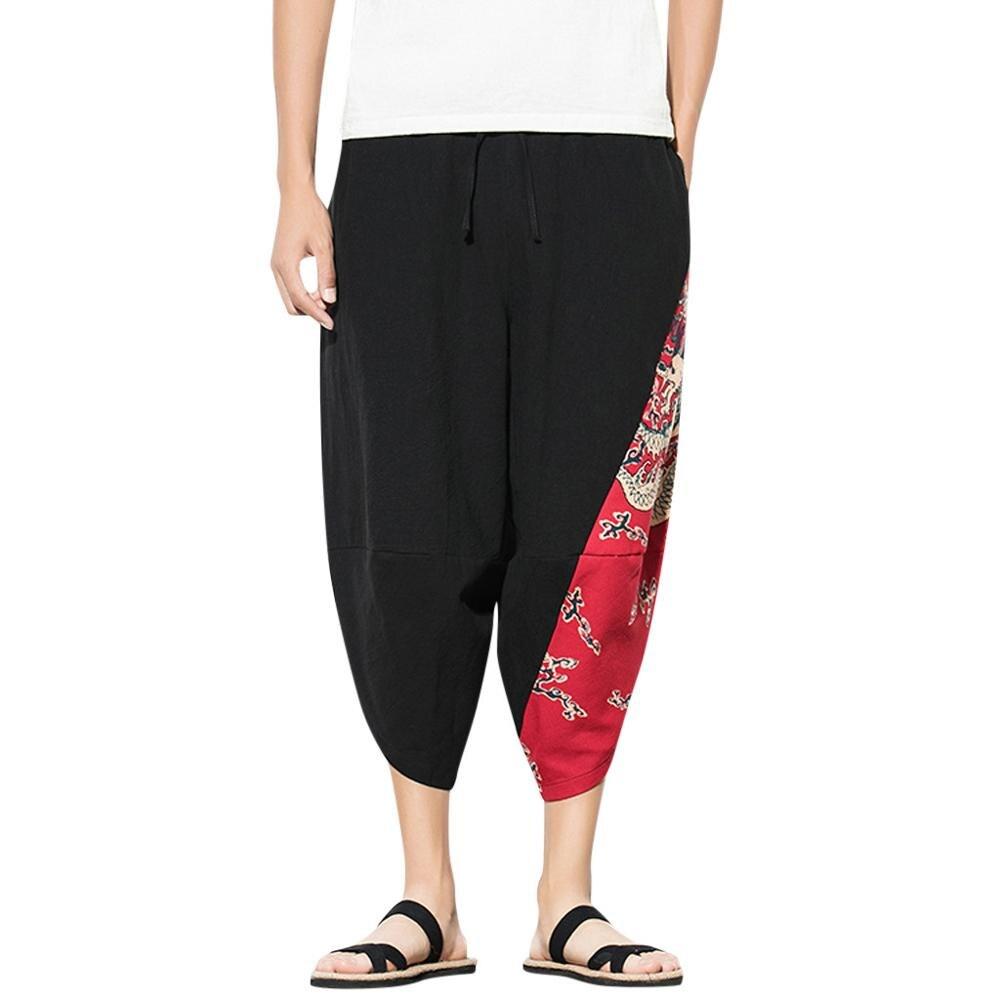 Men Casual Retro Printed Streetwear Drawstring Calf-Length Pants ethnic Harem Pants Vintage Hip Hop Baggy Wide Leg Pants(China)