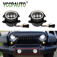 2Pcs 4 Inch 30W Round Led Fog Lights For Jeep Wrangler JK TJ LJ 6000K With White Halo Ring DRL Off Road vehicle Fog Lamps