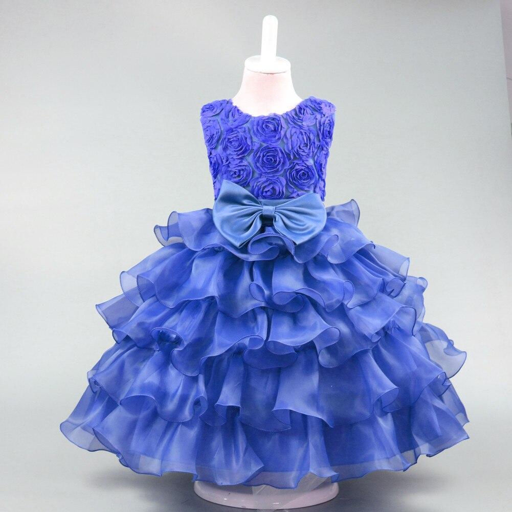 ecea0d614 2019 Summer Fashion Children s dress Rose bowknot princess wedding ...