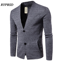 Men Sweater Cotton Casual Sweaters Solid Color Two Buttons Design Men Leisure V neck Sweater Men Cardigan 2017 Casual Sweater