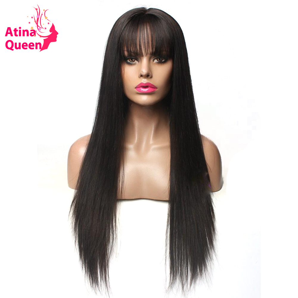 Glueless Short Lace Front Human Hair Wigs With Bangs Fringe 150 Density Straight wig for Women