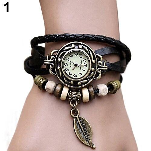 2019 New Women's Watch Retro Leather Bracelet Tree Leaf Decoration Wrist Watch Ladies Quartz Watch Relogio Feminino часы