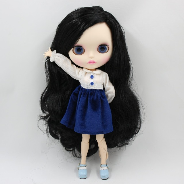 TBL Neo Blythe Doll Black Side Part Hair Jointed Body