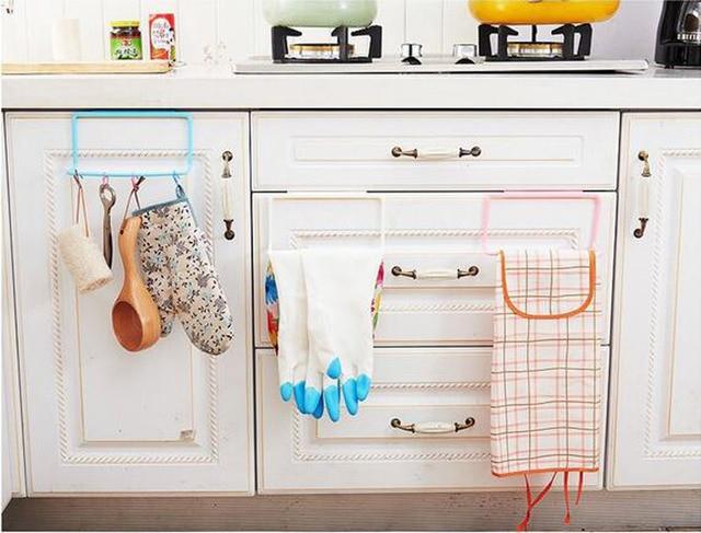 1pc Over Door Cabinet Cupboard Towel Rag Rack Shelf Hanging Holder