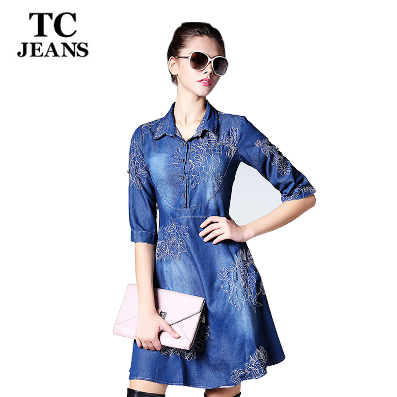 TC Women Denim Dress New 2016 Women Autumn Slim Fashion Embroidery Button Empire Jeans Dresses Big