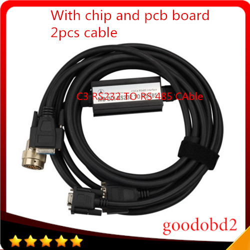 Грузовик автомобилей инструмент MB C3 RS232 к RS485 с чипом и печатной платы OBD2 кабель obd разъем для компактных benz 3 инструмента с печатной платы