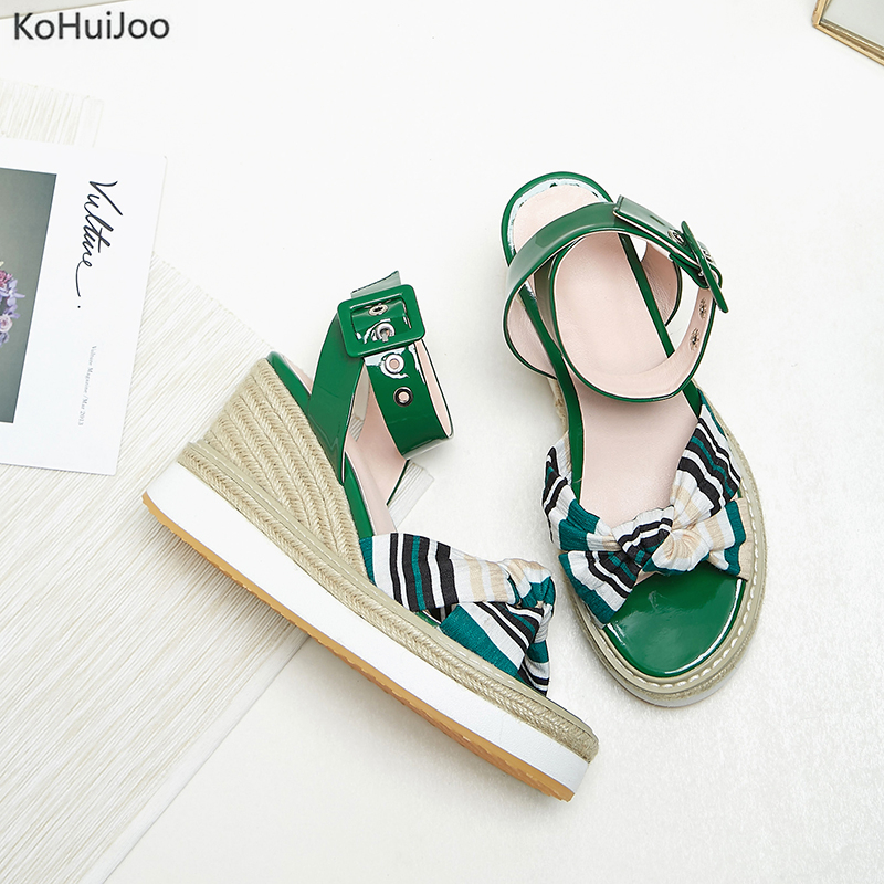KoHuiJoo New Arrival Cow Leather Buckles Wedges Sandals Shoes Women Summer Open Toe Fashion Platform High Heels Wedge Sandals phyanic 2017 gladiator sandals gold silver shoes woman summer platform wedges glitters creepers casual women shoes phy3323