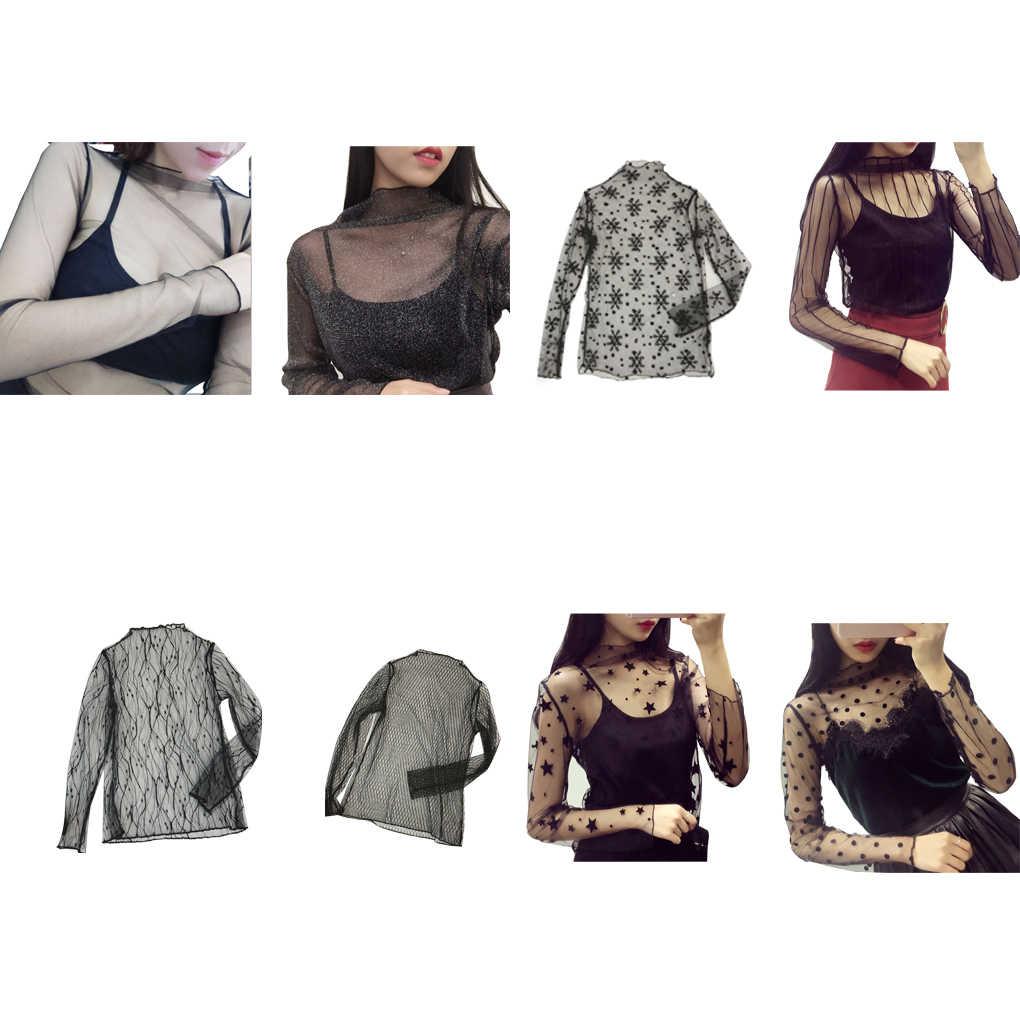 Женская модная сексуальная сетчатая рубашка с длинным рукавом, Повседневная Клубная блуза