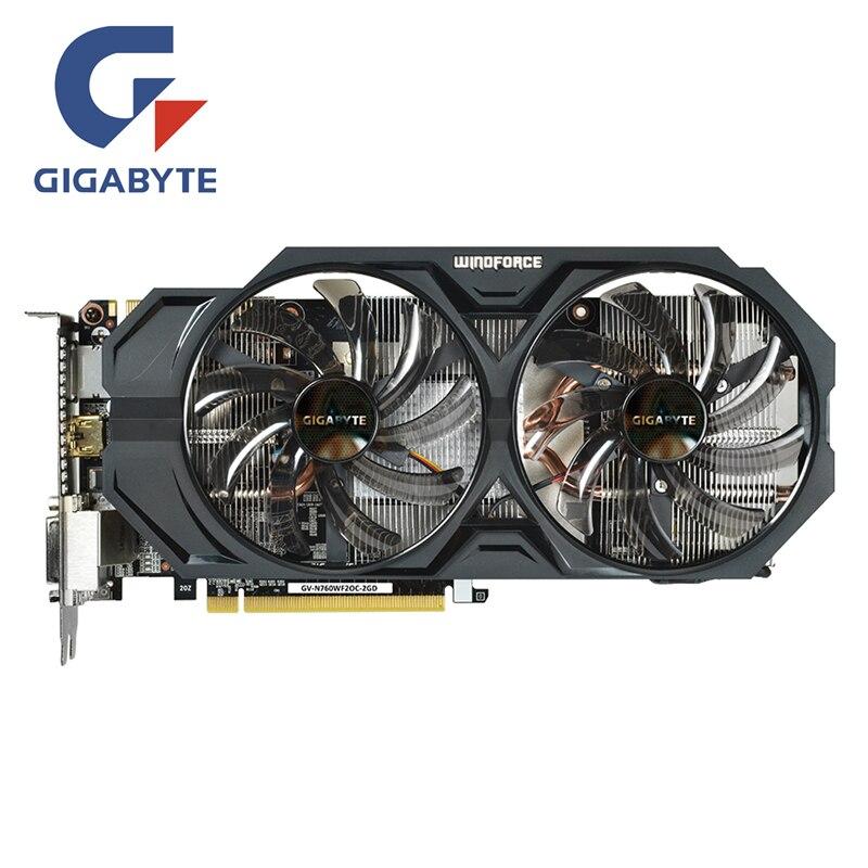 Gigabyte GV-N760WF2OC-2GD gpu placa de vídeo 256bit gddr5 gtx 760 n760 mapa placas gráficas para nvidia geforce gtx760 hdmi dvi cartões