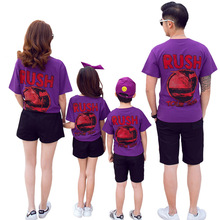 Mother Daughter Cartoon Print T-shirt and Black Shorts Suit Summer Family Matching Outfit Dad Son Letter Print Top and Short Set