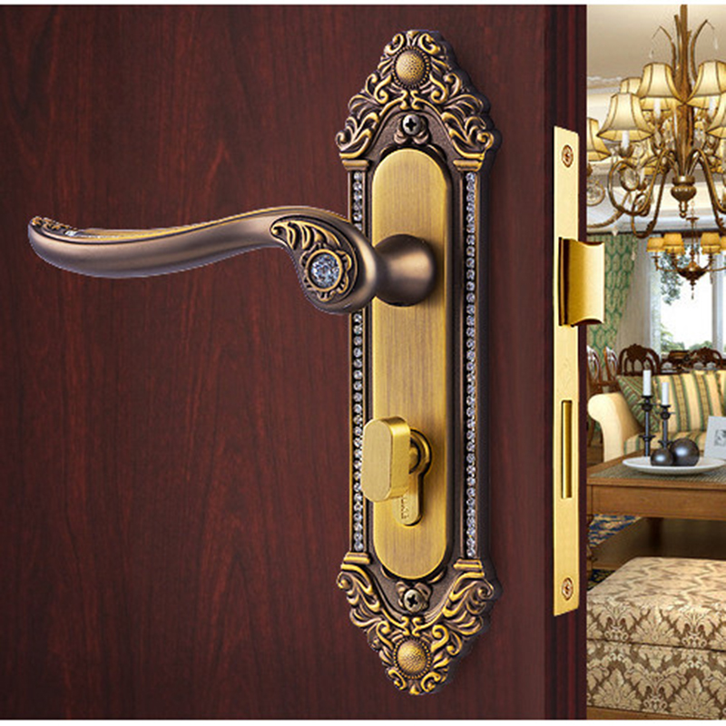 Online Shop Golden Crystal Diamond Knob Locks High Grade Wood Door