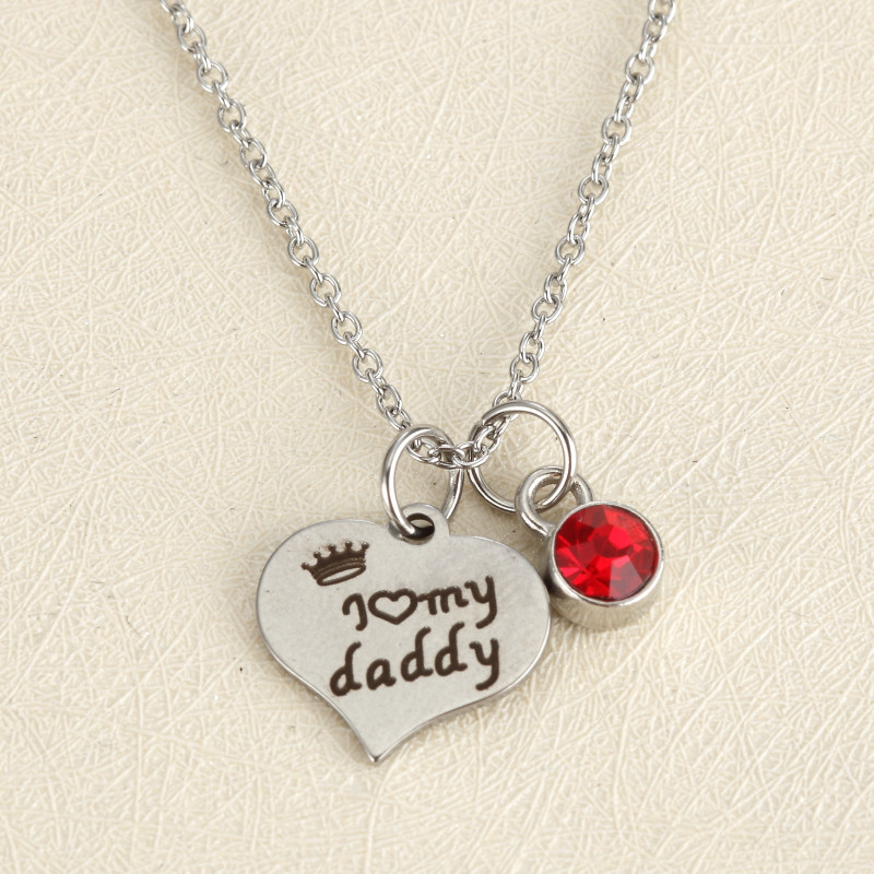 Crystal Heart Pendant Necklace I Love My Daddy Letters